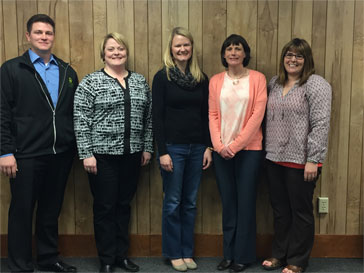 CHI Mercy Health Foundation Welcomes Four New Board Members. L to R Justin Brotzler, Stacey Lilja, Teresa Tangen, and Kalyn Botz along with Stephanie Mayfield, CHI Mercy Health Foundation/Mission Director.