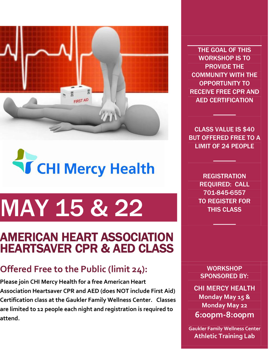 American Heart Association Heartsaver Cpr Aed Class Chi Mercy Health